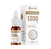 Vitaminas D3 su kokosų aliejumi 1200TV, 10ml (Ecosh Life OÜ)