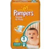 Sauskelnės PAMPERS Sleep&Play Value Pack Midi, 4 - 9 kg, 58 vnt.